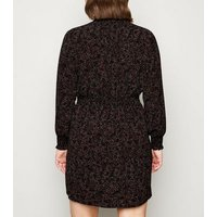 Curves Black Spot Shirred Neck Mini Dress New Look
