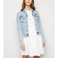 Blue Bleach Wash Denim Jacket New Look