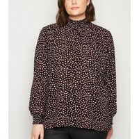 Curves Black Animal Print Shirred Blouse New Look