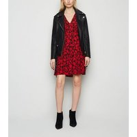 Red Floral Empire Waist Long Sleeve Dress New Look