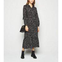 Black Spot Tiered Midi Shirt Dress New Look