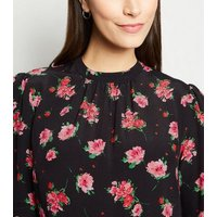 Black Floral High Neck Cuffed Midi Dress New Look