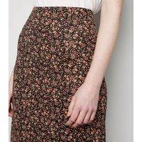 Tall Black Ditsy Floral Midi Skirt New Look
