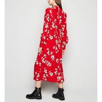 Maternity Red Floral High Neck Midi Dress New Look