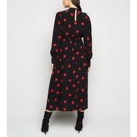 Maternity Black Spot Long Sleeve Dress New Look