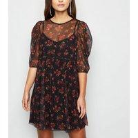 Petite Black Floral Mesh Mini Smock Dress New Look
