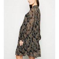 Maternity Black Paisley Chiffon Smock Dress New Look