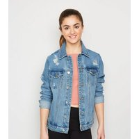 Girls Pale Blue Oversized Denim Jacket New Look