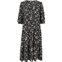 Petite Black Floral Tiered Midi Dress New Look
