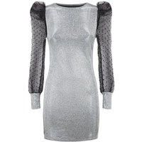 Urban Bliss Silver Glitter Organza Sleeve Dress New Look