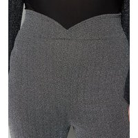 Just Curvy Black Shimmer Flared Trousers New Look