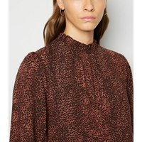 Rust Leopard Shirred Neck Tiered Smock Dress New Look