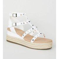 White Stud Gladiator Espadrille Flatform Sandals New Look Vegan