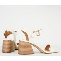 Off White Faux Croc Flared Block Heel Sandals New Look