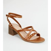 Tan Leather-Look Stud Strappy Sandals New Look