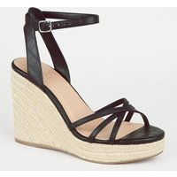 Black Faux Croc Cross Strap Espadrille Wedges New Look Vegan