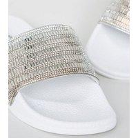 White Diamante Strap Sliders New Look Vegan