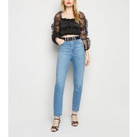 Urban Bliss Black Ruched Organza Crop Top New Look