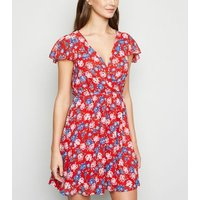 Mela Red Floral Wrap Dress New Look