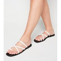 White Faux Croc Toe Loop Strappy Sliders New Look Vegan