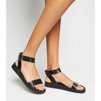 Black Faux Croc 2 Part Footbed Sandals New Look Vegan