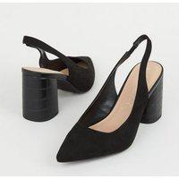 Black Suedette Faux Croc Heel Court Shoes New Look Vegan