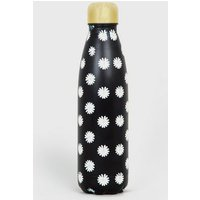 Black Daisy Print 500ml Metal Bottle New Look
