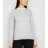 JDY Pale Grey Broderie Collar Jumper New Look