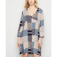 JDY Navy Patchwork Print Mini Dress New Look