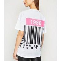 Noisy May White Barcode 1980 Neon Slogan T-Shirt New Look