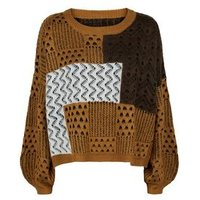Wild Flower Brown Colour Block Patchwork Knit Jumper New Look