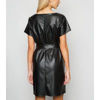 Cameo Rose Black Leather-Look Belted Dress New Look