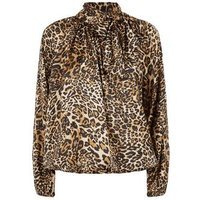 Cameo Rose Mink Satin Leopard Print Blouse New Look