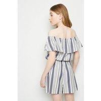 Girls Blue Stripe Linen Blend Playsuit New Look