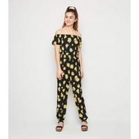 Girls Black Floral Bardot Jumpsuit New Look