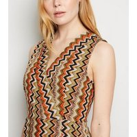 Mela Multicoloured Zig Zag Midi Wrap Dress New Look