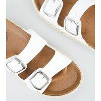 Girls White Stud Espadrille Footbed Sliders New Look