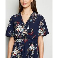 Mela Navy Floral Frill Wrap Midi Dress New Look