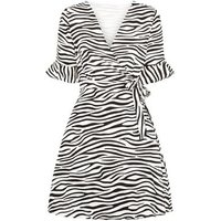 Mela Black Zebra Print Wrap Dress New Look