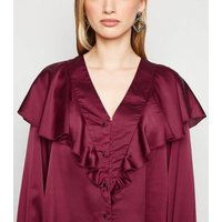 Cameo Rose Burgundy Satin Ruffle Blouse New Look