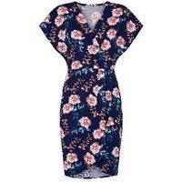 Mela Blue Floral Wrap Front Mini Dress New Look