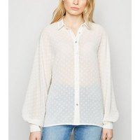Off White Chiffon Spot Puff Sleeve Shirt New Look