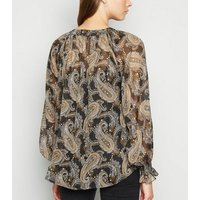Black Paisley Print Chiffon Blouse New Look