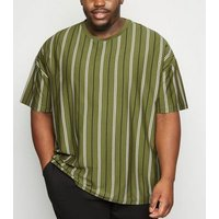Plus Size Olive Contrast Stripe T-Shirt New Look