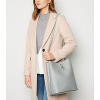 Grey Leather-Look Stud Trim Bucket Bag New Look Vegan