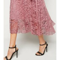 Pale Pink Lace Pleated Midi Skirt New Look