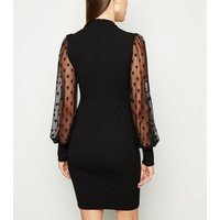Black Mesh Spot Puff Sleeve Bodycon Dress New Look