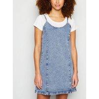 Noisy May Blue Acid Wash Denim Slip Dress New Look