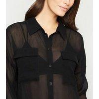 Noisy May Black Mesh Long Sheer Shirt New Look