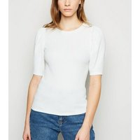 Off White Crinkle Puff Sleeve T-Shirt New Look